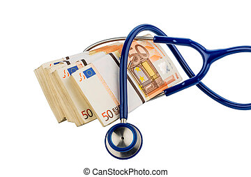 stethoscope and euro banknotes,