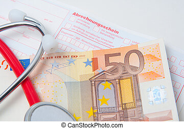 stethoscope and european currency on a german medical bill
