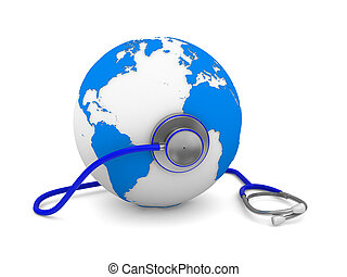 Stethoscope and globe on white background. Isolated 3D image