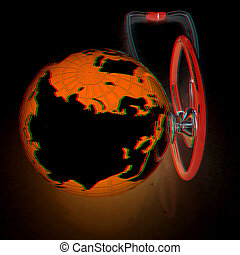 stethoscope and globe.3d illustration. Anaglyph. View with red/cyan glasses to see in 3D.