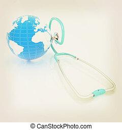 stethoscope and globe.3d illustration. Vintage style.