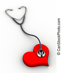 Stethoscope and heart - A conceptual stethoscope on heart -...