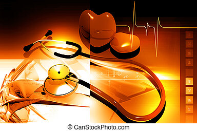 Stethoscope and heart - Digital illustration of stethoscope...