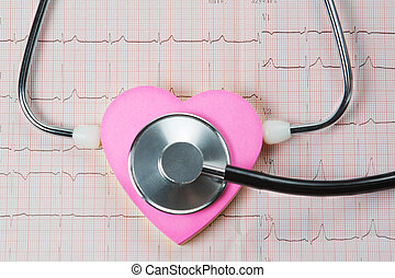 Stethoscope and heart on a background of cardiogram.
