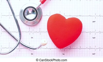 selective focus. stethoscope and heart on a cardio diagram