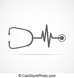 Stethoscope and heartbeat sign. Vector illustration -...