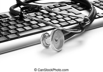 Stethoscope and keyboard illustrating concept of digital security