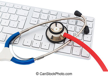 stethoscope and keyboard of a computer, symbolic photo for...