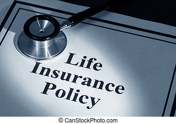 life insurance policy - stethoscope and life insurance...
