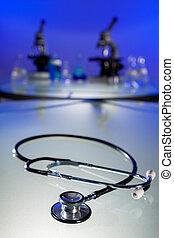 Stethoscope and Microscopes in a Scientific Research Laboratory