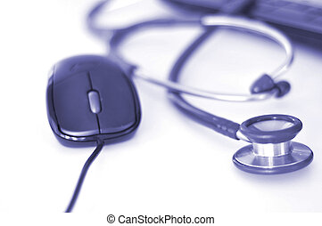 stethoscope and mouse isolated on white