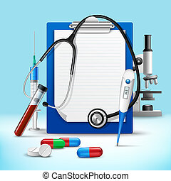 Realistic medical health service stethoscope and clipboard for notes emblem vector illustration