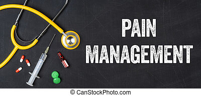 Stethoscope and pharmaceuticals on a blackboard - Pain management