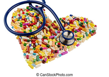 stethoscope and pills in heart shape