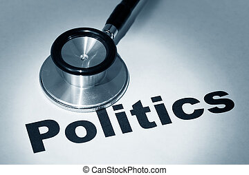Stethoscope and Politics - Stethoscope and email, concept of...