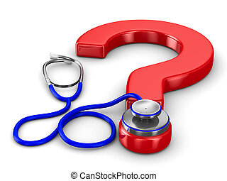 Stethoscope and question on white background. Isolated 3D...