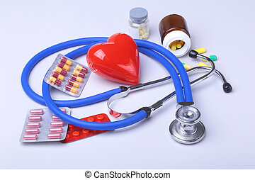 stethoscope and red heart, Colored Pills, Tablets, Capsules...
