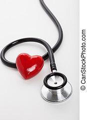 heart disease - Stethoscope and red heart, heart disease