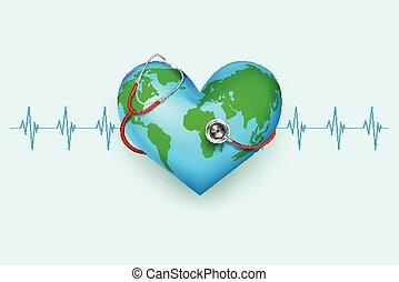 Stethoscope around hearth shaped world - vector illustration...