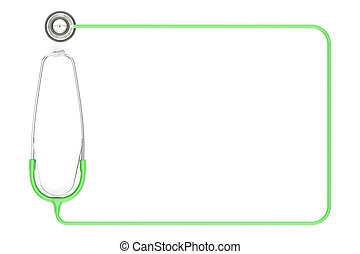 Stethoscope as frame, green color. 3D rendering isolated on ...