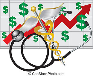 Stethoscope and Rod of Caduceus Medical Symbol with Health Cost Rising Chart on White Background Illustration