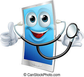 Stethoscope Cartoon Phone Mascot - A cartoon phone mascot...