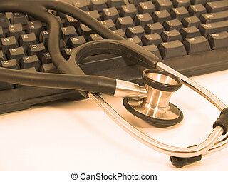 Stethoscope computer-red - Picture of Stethoscope next to...