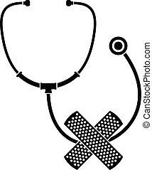 Stethoscope, cross bandage icon, simple style