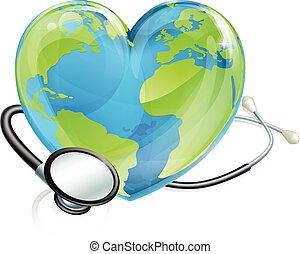 Stethoscope Earth Heart World Globe Health Concept