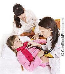 stethoscope., eksamener, doktor, barn