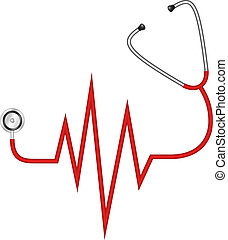 Stethoscope - electrocardiogram - Stethoscope in shape of...