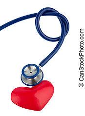 stethoscope, en, een, hart