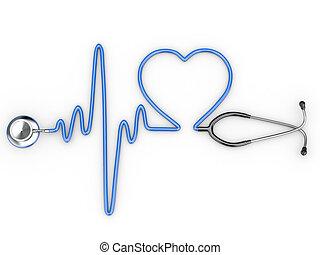 stethoscope, en, een, silhouette, van, het hart, en, ecg
