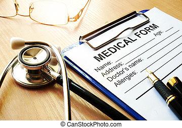 stethoscope, en, medisch, vorm, op, een, worktable.