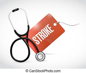 stethoscope, en, slag, label, illustratie