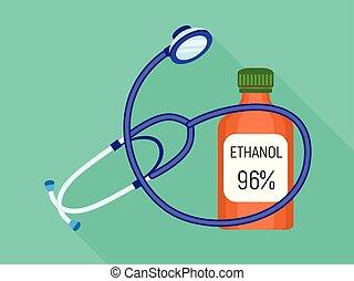 Stethoscope ethanol bottle icon, flat style - Stethoscope...