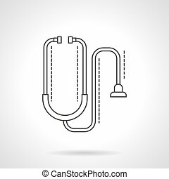Stethoscope flat line vector icon