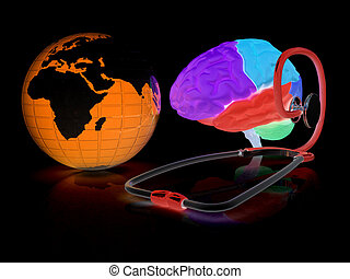 stethoscope, globe, brain - global medical concept. 3d illustration