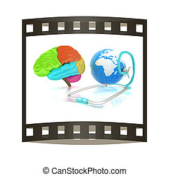 stethoscope, globe, brain - global medical concept. 3d illustration. The film strip
