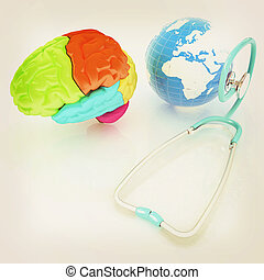 stethoscope, globe, brain - global medical concept. 3d illustration. Vintage style.