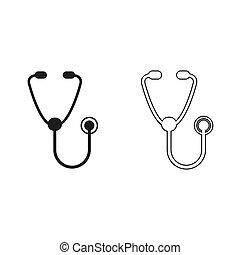 stethoscope - green vector icon