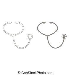 Stethoscope grey color set icon .