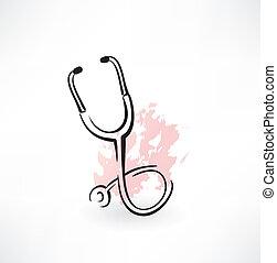 stethoscope grunge icon