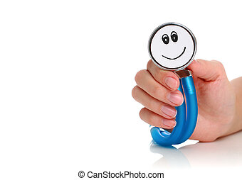 Stethoscope. - Health care concept. Stethoscope in female ...
