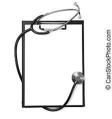 stethoscope heart health care medicine tool - close up of...