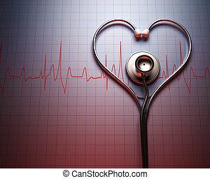 Stethoscope Heart Shape - Stethoscope in shape of heart on a...