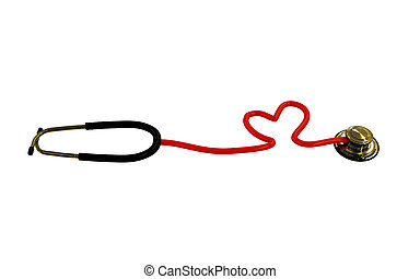 stethoscope heart shaped isolated on white background