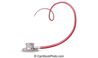 Stethoscope Heart Symbol on white background - Stethoscope...