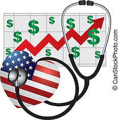 Stethoscope Heart with US Flag and Chart - Stethoscope...