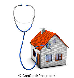 Stethoscope House - House with stethoscope on the white...